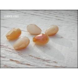 Perles Gouttes 12 x 8 mm Jade Doré X 5