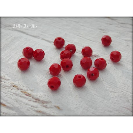 Perles Rondes Facettées 4 mm Red Opaque X 25