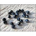 Perles Rondes Facettées 4 mm Jet Argent X 25