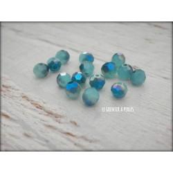 Perles Rondes Facettées 4 mm Bleu Maya AB2x X 25