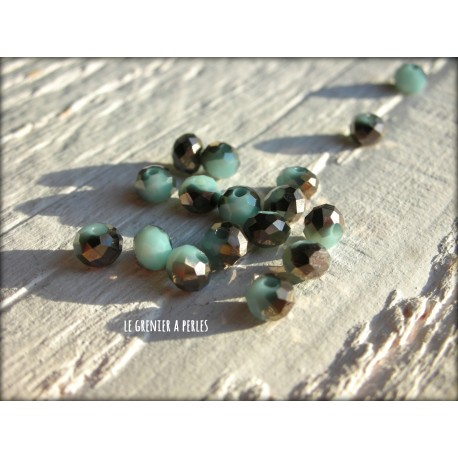 Perles Abacus 4 mm Marron et Bleu X 25