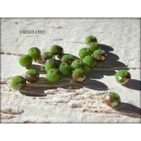 Perles Abacus 4 mm Olivine Irisé X 25