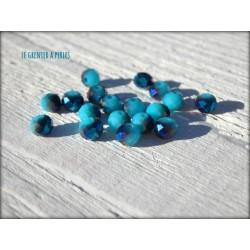 Perles Rondes Facettées 4 mm Bleu Ciel AB2x X 25