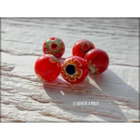 Perles MILLEFIORI 10 mm x 5 ROUGE