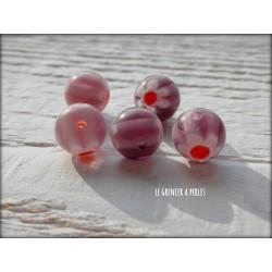 Perles MILLEFIORI 10 mm x 5 MAUVE