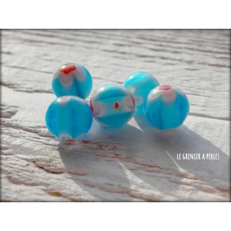 Perles MILLEFIORI 10 mm x 5 BLEU