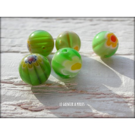 Perles MILLEFIORI 10 mm x 5 VERT