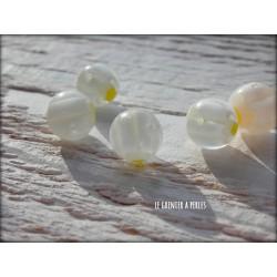 Perles MILLEFIORI 10 mm x 5 BLANC