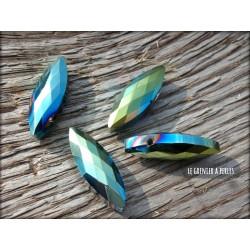 Perle ogive 25 x 8 mm Bleu / Vert AB2x  X 2