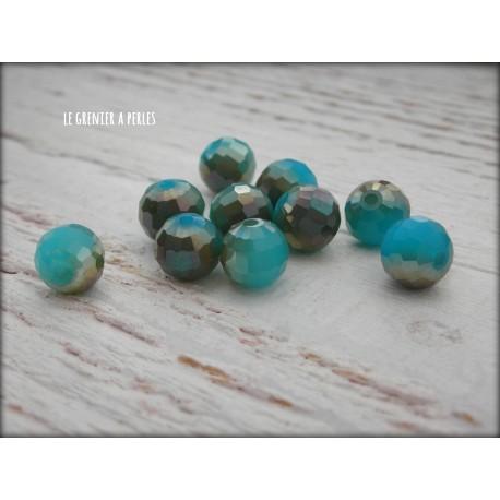 Perles Rondes Facettées 8 mm Bleu Opal AB X 10