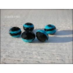 Perles ABACUS 12 mm Bleu et Noir x 5