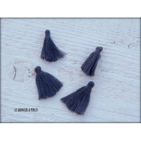 Petits Pompons ( fils de coton ) Gris Foncé X 4