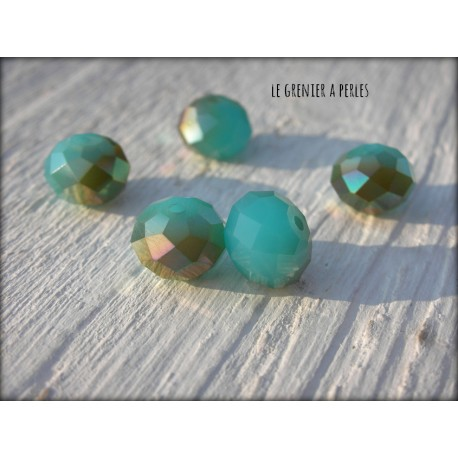 Perles ABACUS 10 mm Turquoise Opal AB x 5