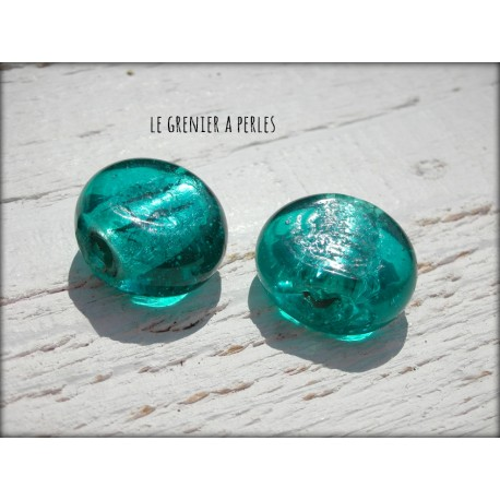 Perle Palet * Feuille d'argent 19 x 15 mm Bleu Turquoise X 2