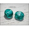 1 Perle Palet * Feuille d'argent 19 x 15 mm Bleu Turquoise