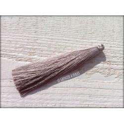 Grand pompon de luxe en soie * Gris 12 cm