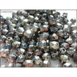 Facettes 4 mm CRYSTAL ANTIQUE CHROME ( 18549 )