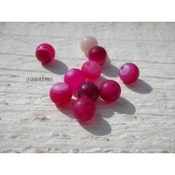 Perles Agate Striées Rose Fuchsia Mat 6 mm X 10