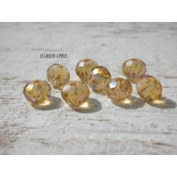 Perles ABACUS 8 mm light Topaz AB X 10