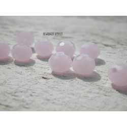 Perles ABACUS 8 mm Light Rose Opal X 10