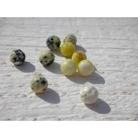 Perles Jaspe Jaune 6 mm X 10