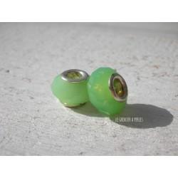 Perle à gros trou  9 x 12 mm Vert Opal
