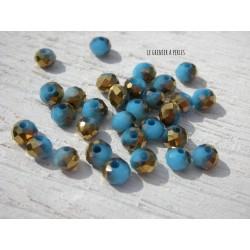 Perles Abacus 4 mm Bleu opaque & Doré  X 25