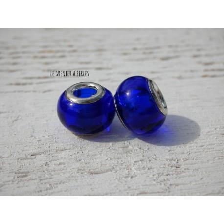Perle à gros trou  9 x 12 mm Bleu Cobalt