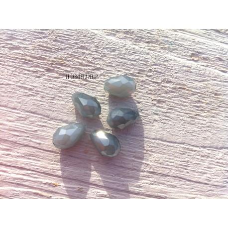 Perles Gouttes 12 x 8 mm Gris Perle Opal X 5