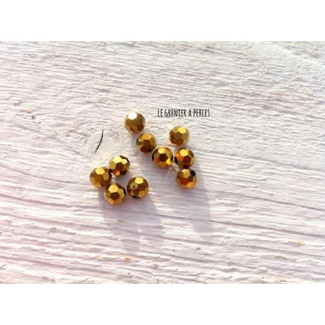 Perles Rondes Facettées 6 mm Bronze x 10