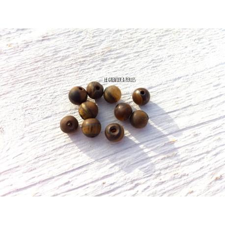 Perles Oeil de tigre Mat 6 mm X 10