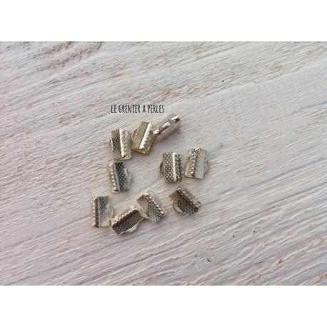 Embout Pince Lacet Argenté 10 mm