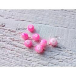 Perles ABACUS 8 mm Dark Pink Tacheté X 10