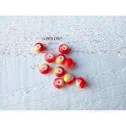 Perles ABACUS 8 mm Rouge Orangé X 10