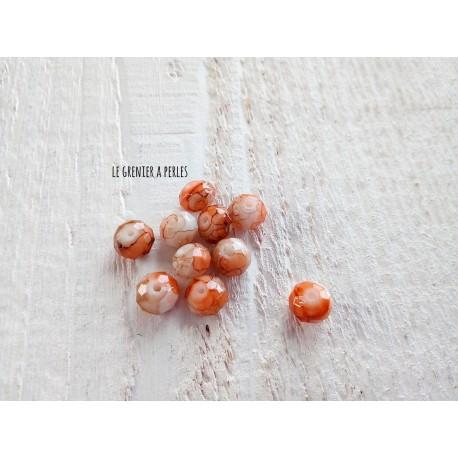 Perles ABACUS 8 mm Roux Tacheté X 10