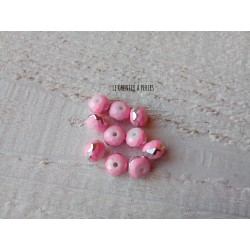 Perles ABACUS 8 mm Rose Liseré Argent X 10