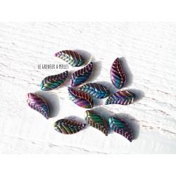 Perles Feuille 18 x 8 mm Pétrole AB x5