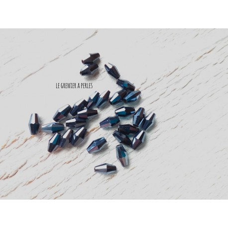 Perles Ogives Facettées Hematite * 4 x 8 mm ( 10 perles )