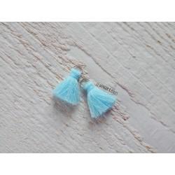 2 Petits Pompons coton * Turquoise * 2 cm