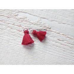 2 Petits Pompons coton * Rouge Bordeaux * 2 cm