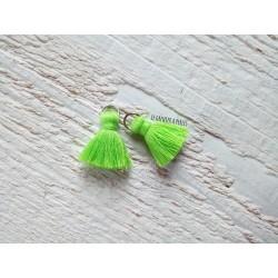 2 Petits Pompons coton * Vert Fluo * 2 cm