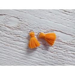 2 Petits Pompons coton * Orange * 2 cm