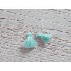 2 Petits Pompons coton *Light Turquoise * 2 cm