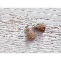 2 Petits Pompons coton * Marron Clair * 2 cm