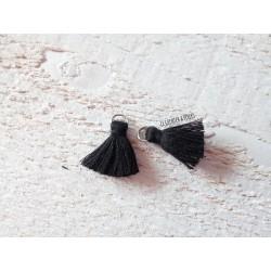 2 Petits Pompons coton *Noir * 2 cm