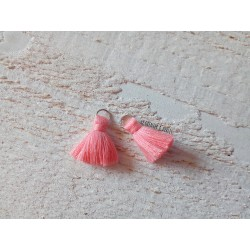 2 Petits Pompons coton * Rose Saumon * 2 cm