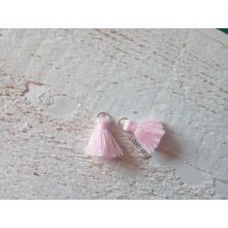 2 Petits Pompons coton * Rose Clair * 2 cm