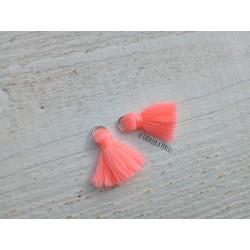 2 Petits Pompons coton * Rose Saumon Néoon * 2 cm