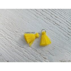 2 Petits Pompons coton * Jaune * 2 cm