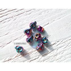 Perles Skull 10 x 8 mm Pétrole AB x5